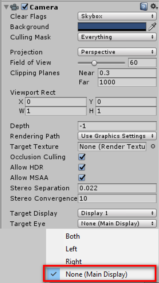 When using SteamVR, How do I change which camera is