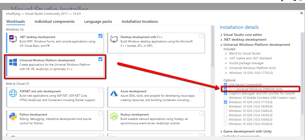 Selected Visual Studio is missing required components and