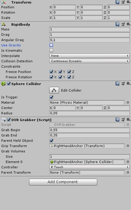 Having problems in Unity when grabbing objects: my