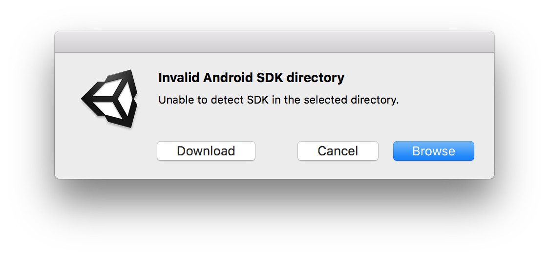 Unity 2018 2 unable to detect Android sdk in selected folder