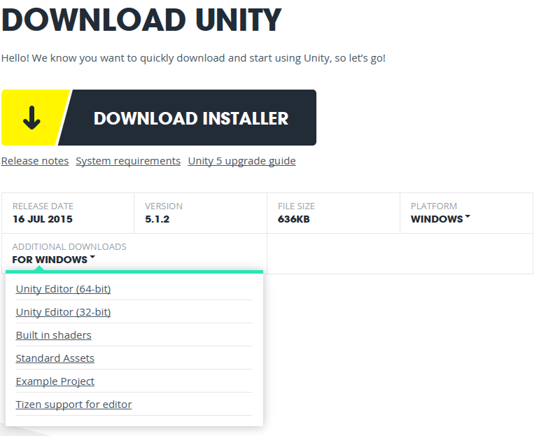 unity windows download