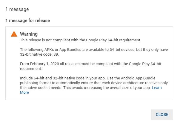 Building Android Application Bundle including 64 bit still