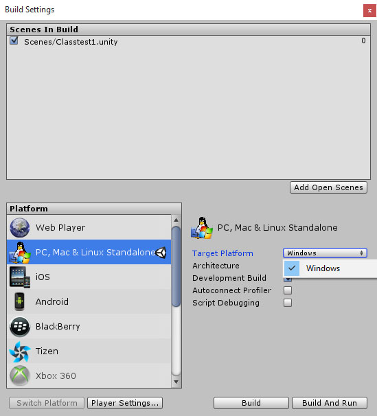 Cant select Mac or Linux from Build Settings Target Platform