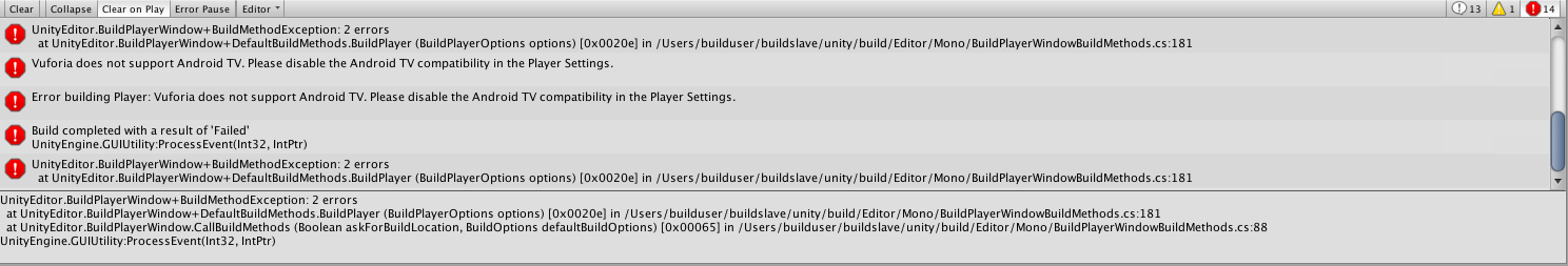 Error building Vuforia Core Samples on Android - Unity Forum