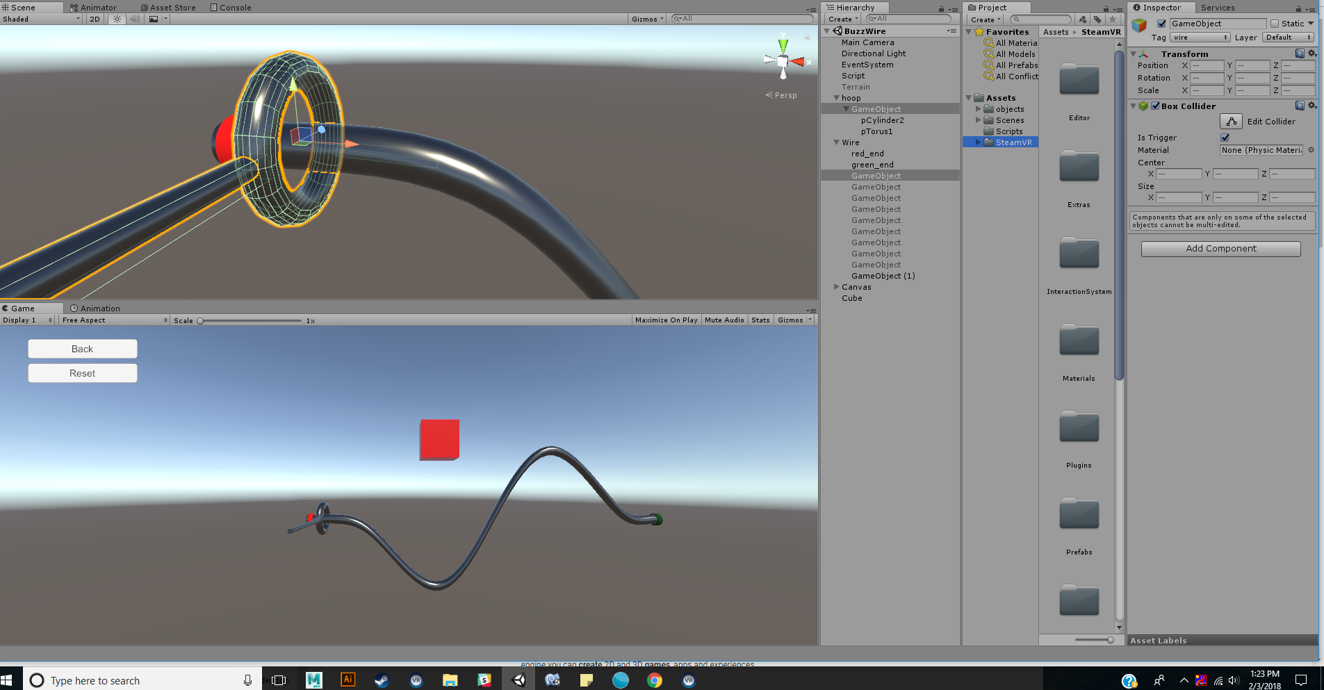 how to create colliders for wire (buzz wire game) - Unity Forum