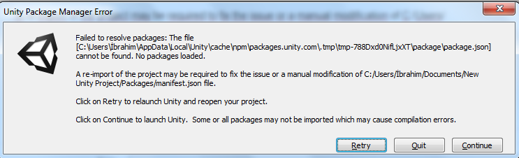 Failed to resolve packages: - Unity Forum