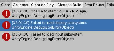 Error del complemento XR de Oculus