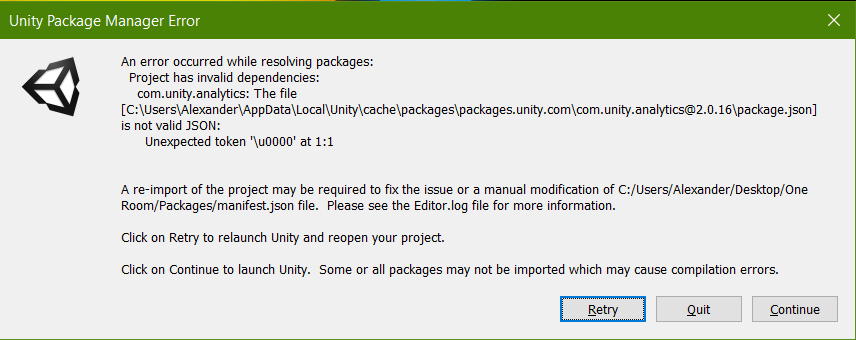 Unity Package Manager Error: An error occured while