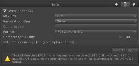 Unity Editor says that ETC Crunched Textures are not supported on