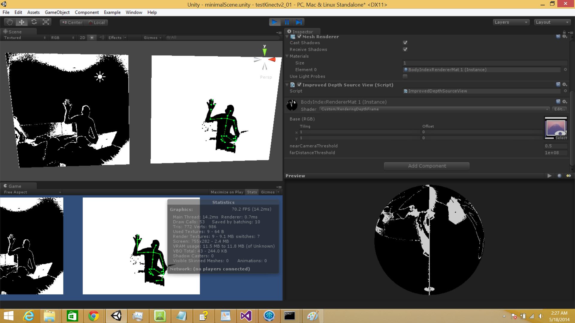 Kinect v2, writing a ushort[] to a ComputeBuffer to a