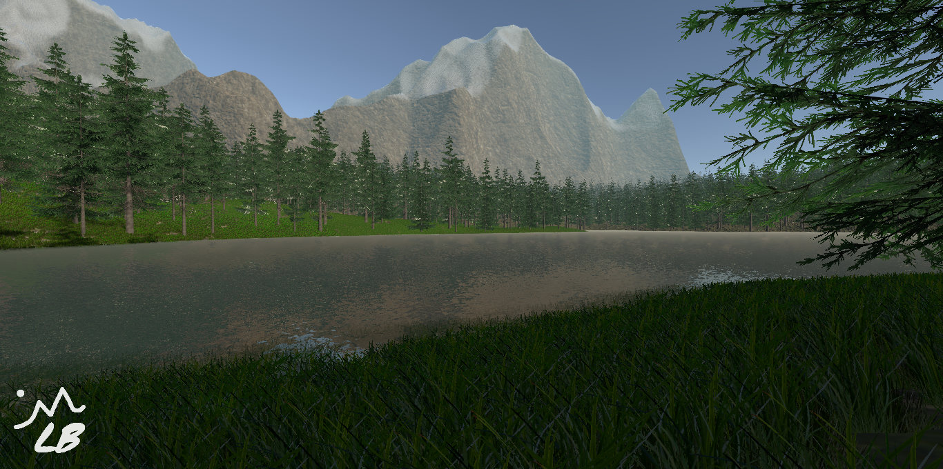 Forest With Mountains And Lake.png