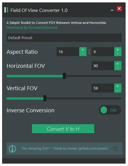 FREE TOOL] Horizontal and Vertical Camera FOV Converter v1 0