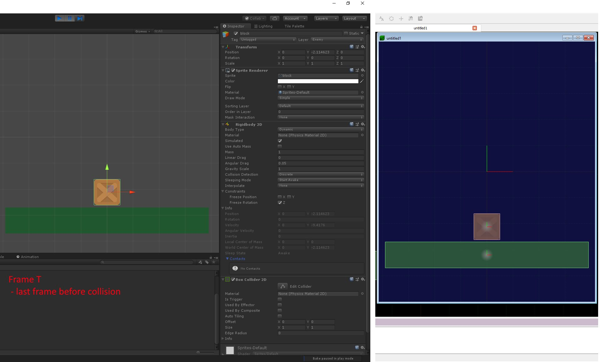 Unity box2D collision / penetration behaviour different from