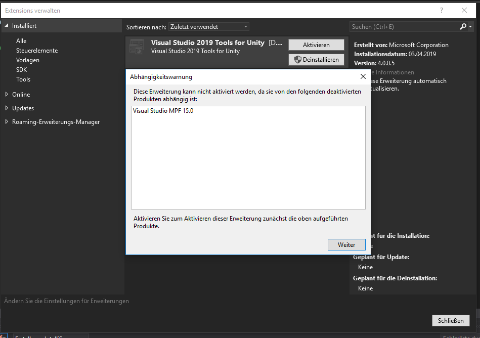 Cant install Unity Tools for Visual Studio 2019 - Unity Forum