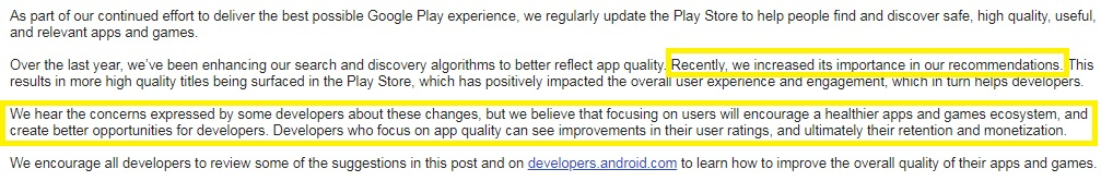 Sudden drop in number of daily installs on Google Play Store