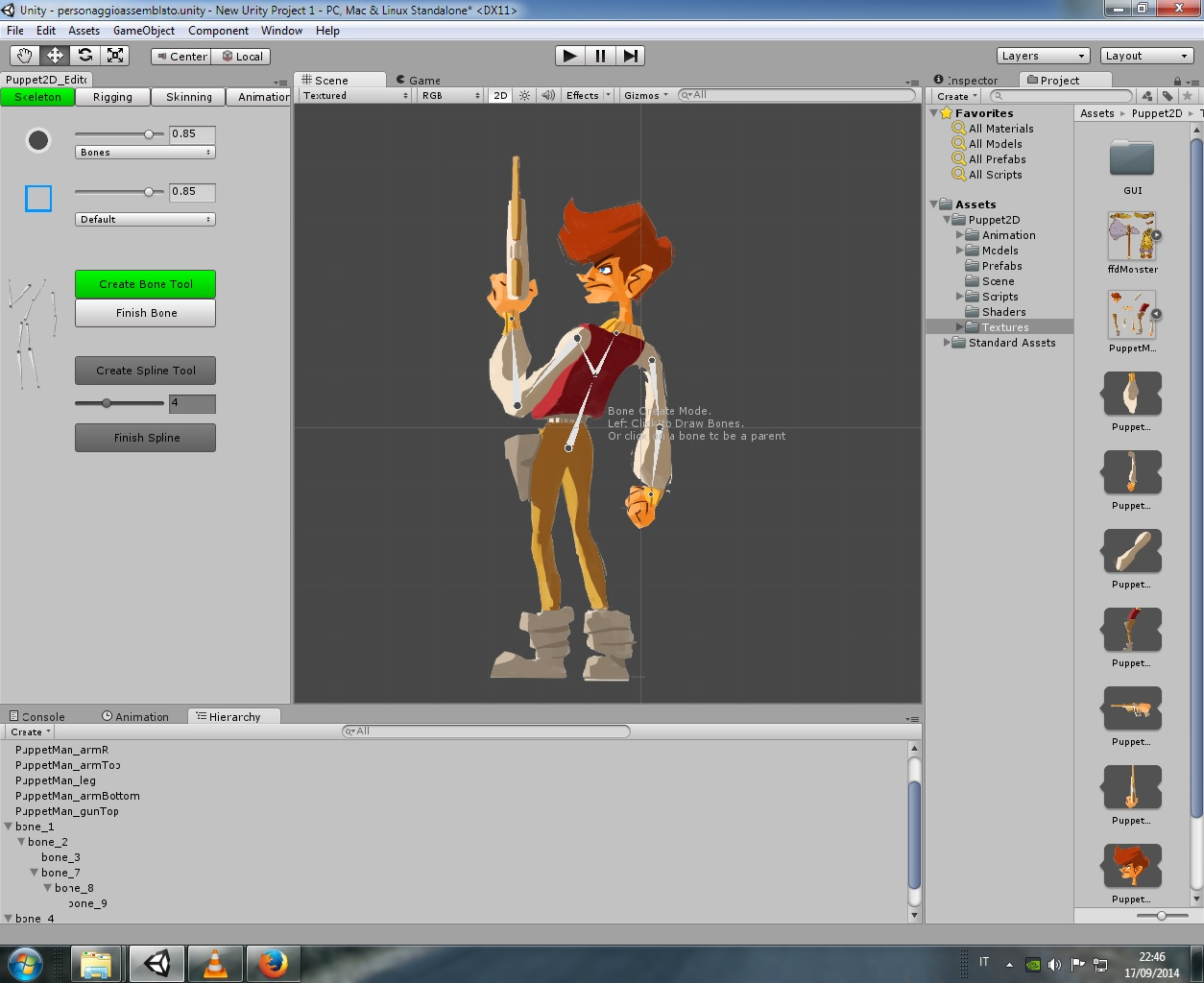 how to connect my mesh to bones 2d character