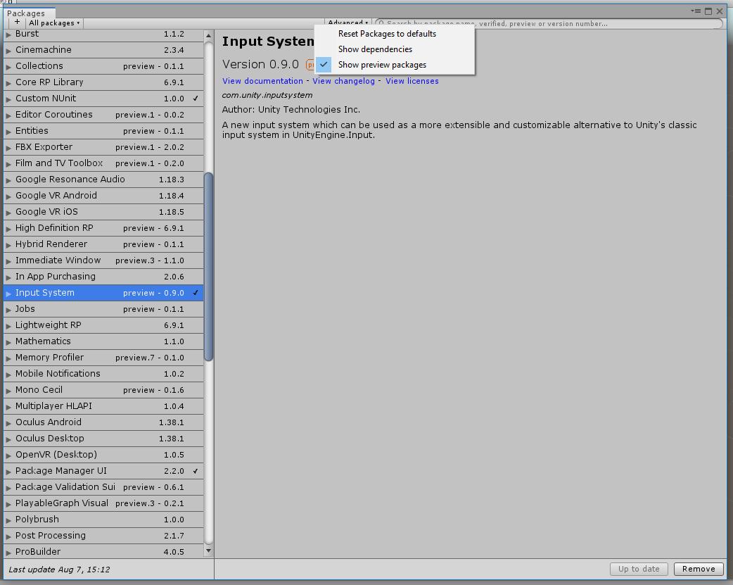 UnityEngine Experimental Input