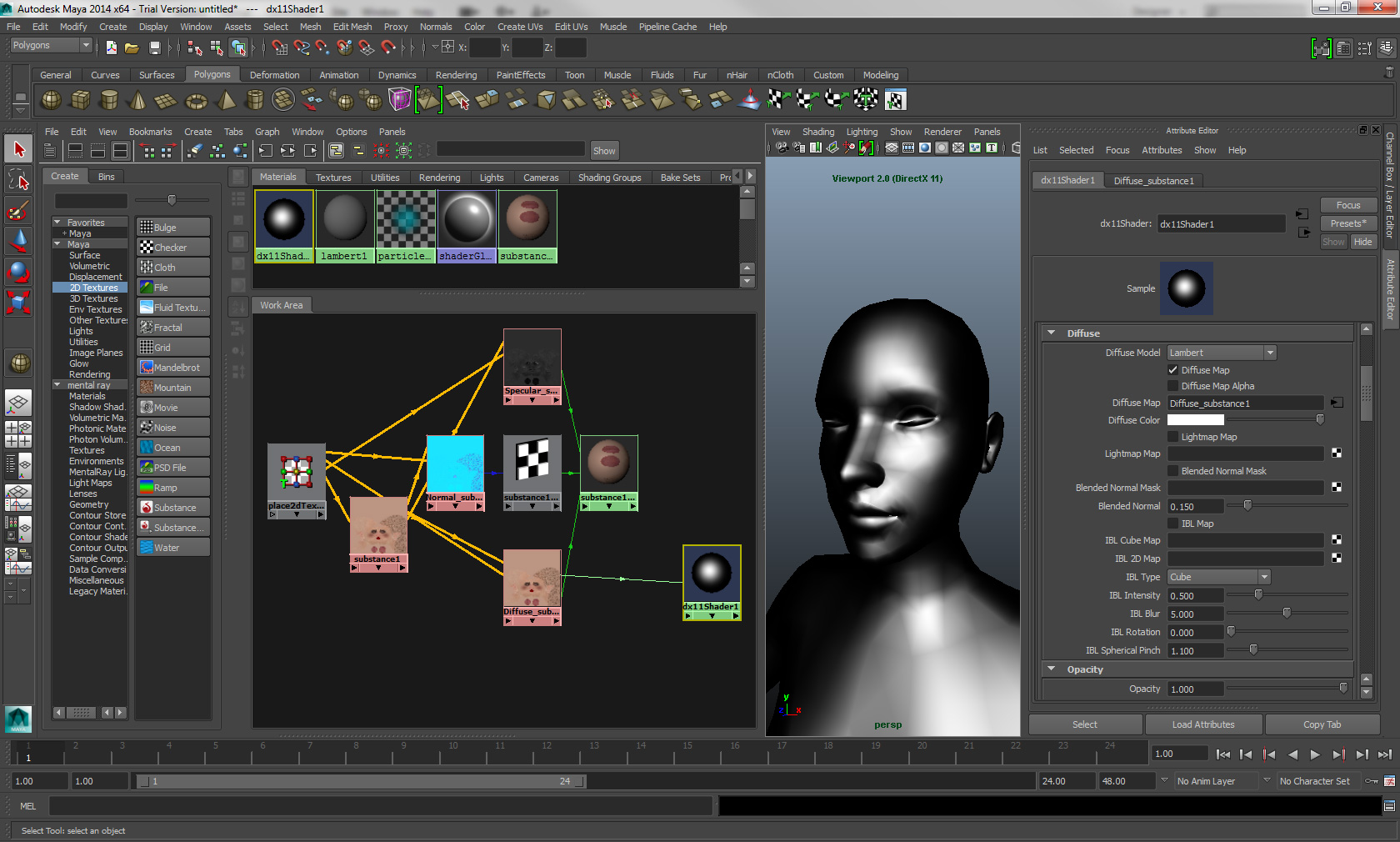 How to get a Substance to show in the DirectX 11 viewport in Maya