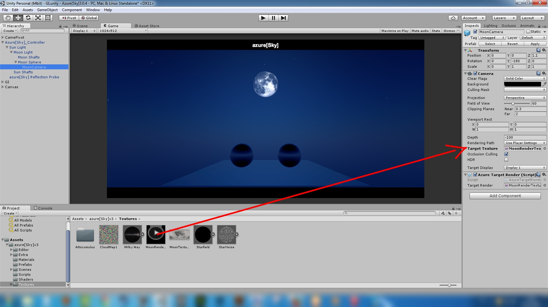 how to change skybox of camera to texture unity