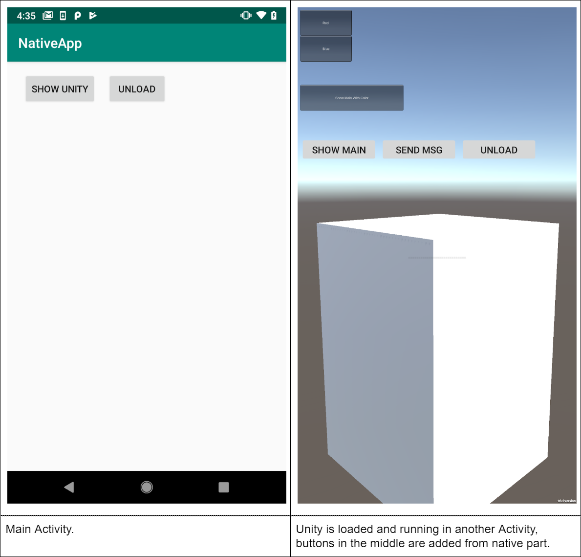 Integration Unity as a library in native Android app - Unity