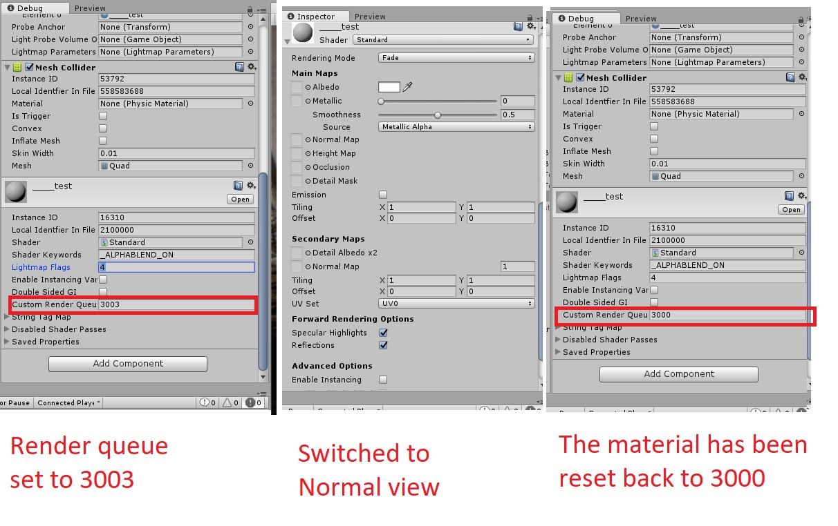 Material custom render queue resets by itself in the editor