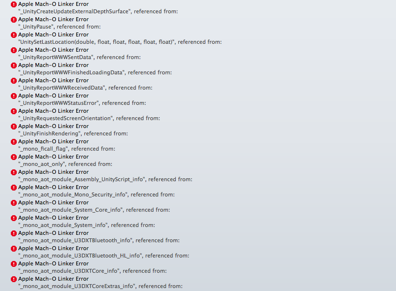 getting over 200 errors when exporting to xcode unity forum