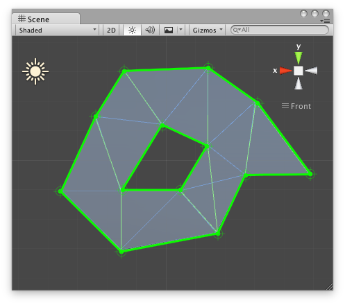 how to make a 2d mesh in unity