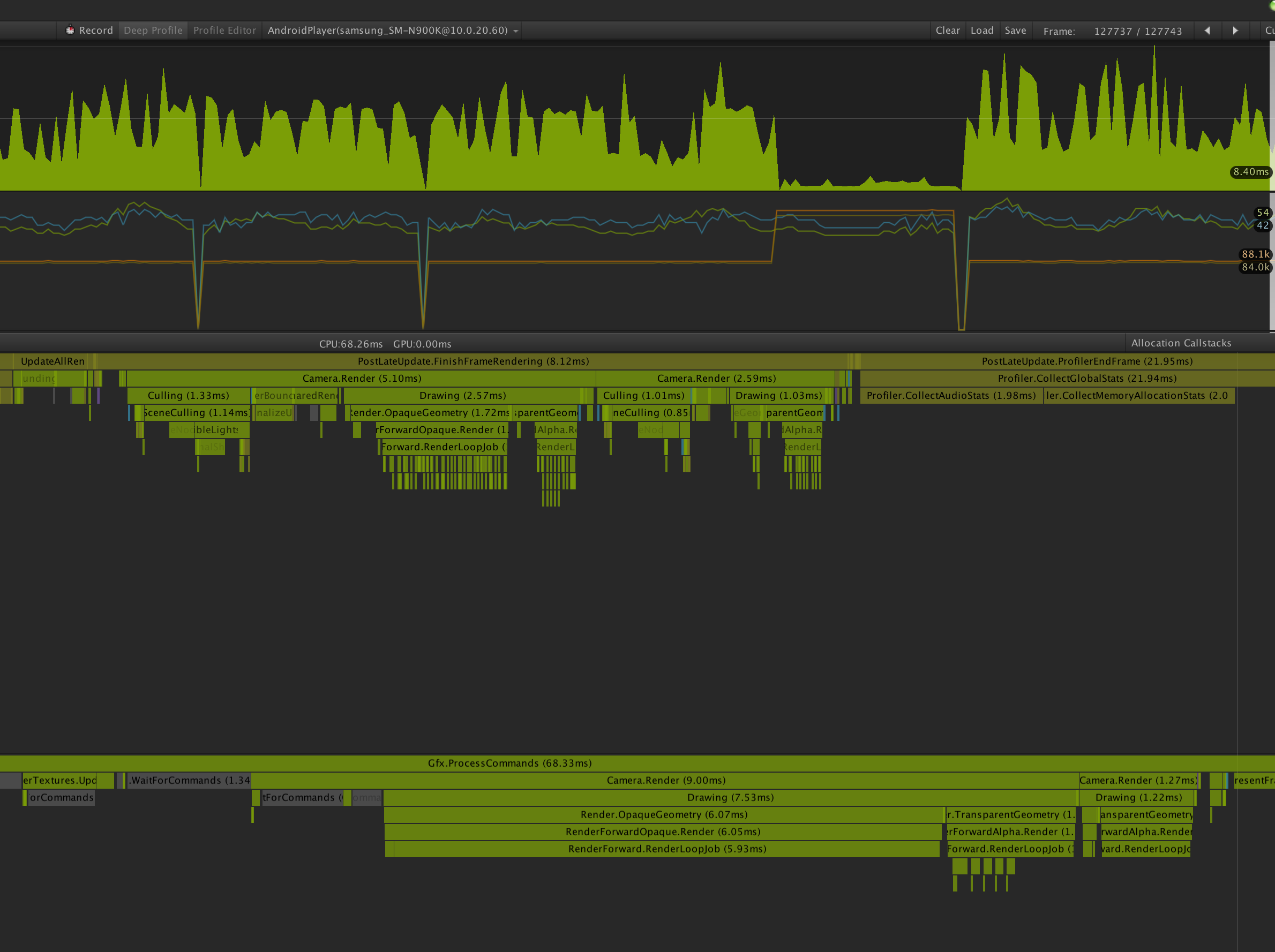 Graphics profiler GFX.WaitForCommands, What is does it mean? - Unity ...