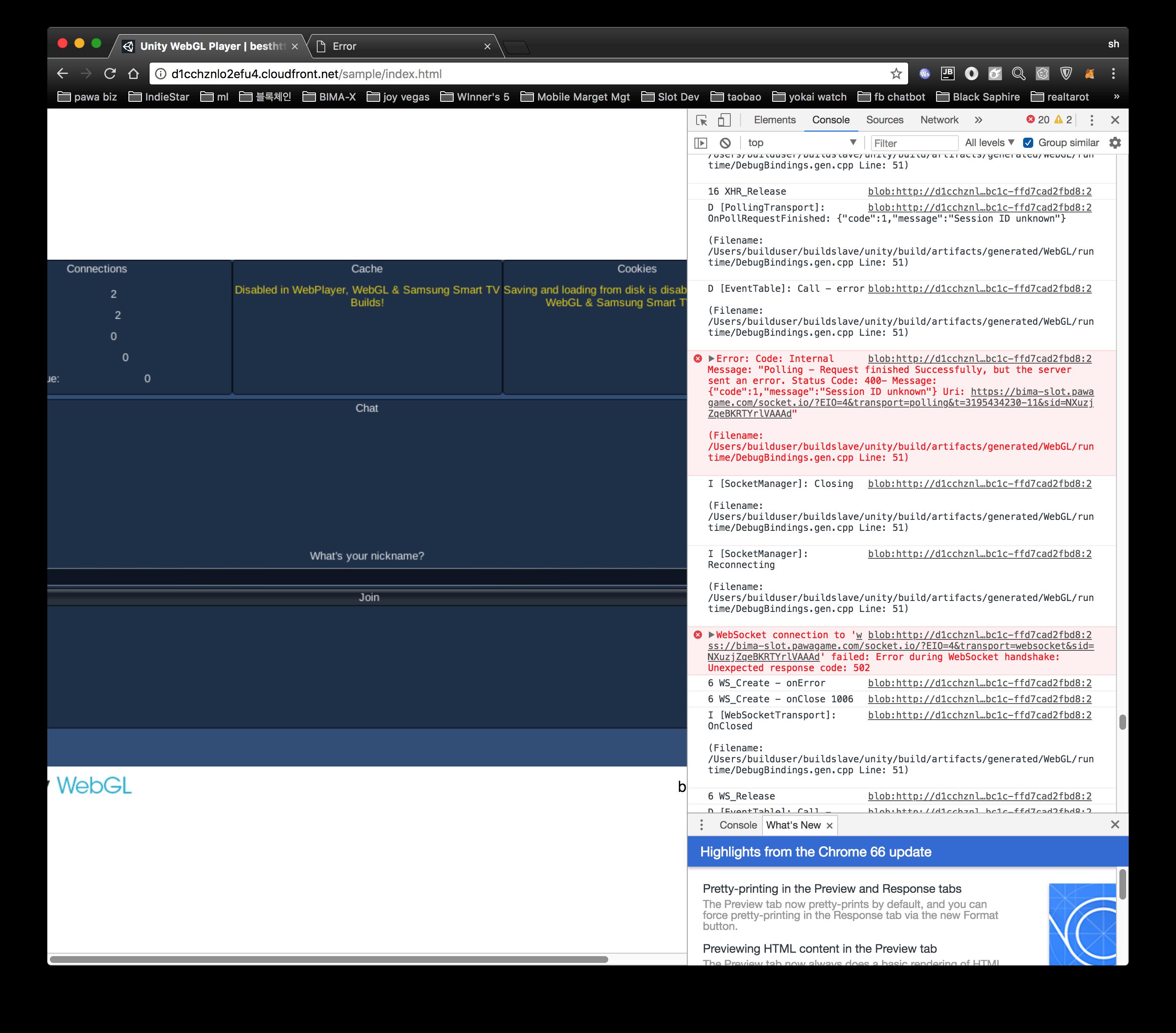 WEBSOCKET ERROR INCORRECT HTTP RESPONSE  STATUS CODE 400 BAD