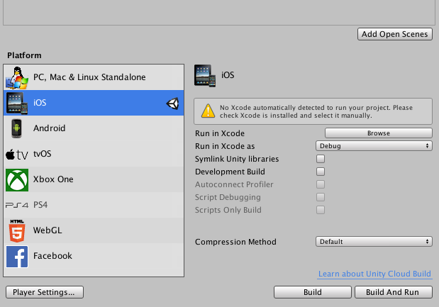 No Xcode Detected in Unity Build Settings - Unity Forum