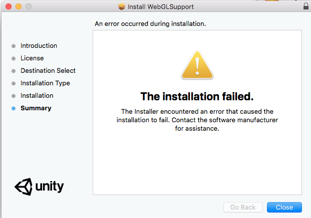 Cannot install web GL module on macs (install failed: Installer