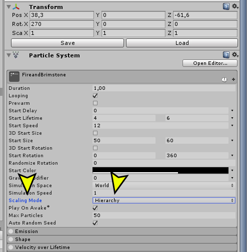 How does the Transform's scale work with a particle system