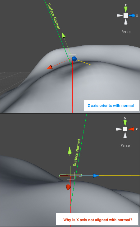 Aligning object to surface normal with Quaternion