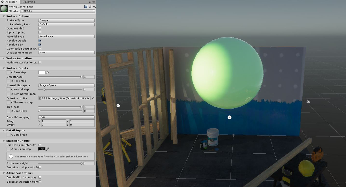 Translucent Material Issue - Unity 2019 1 0f2 HDRP 5 13
