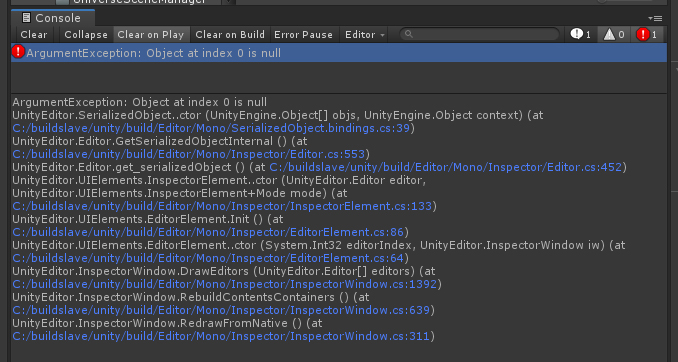 SOLVED] Unity Window : ArgumentException: Object at index 0