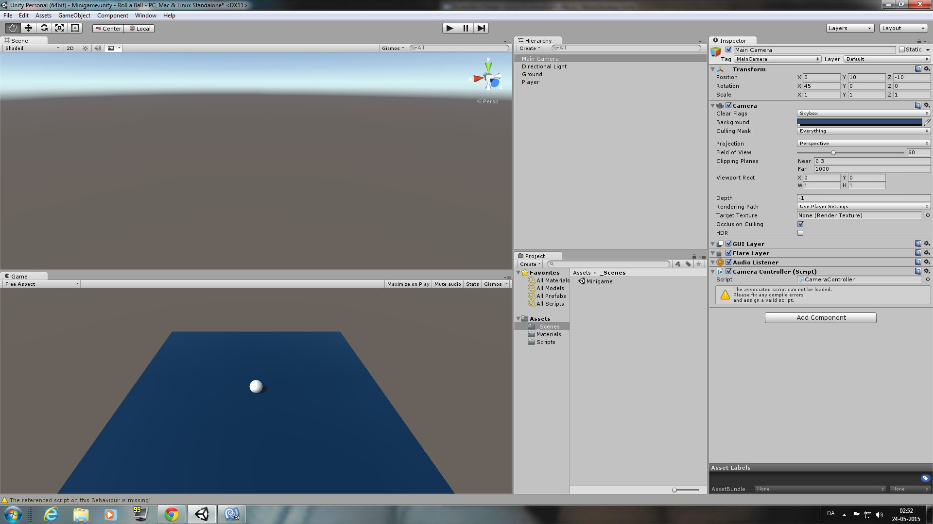 unity roll a ball tutorial project code