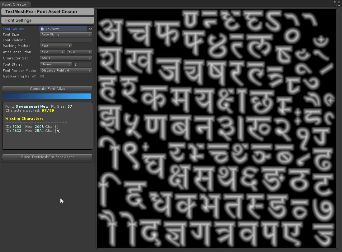 TextMesh Pro feezes when trying to create font with devanagari