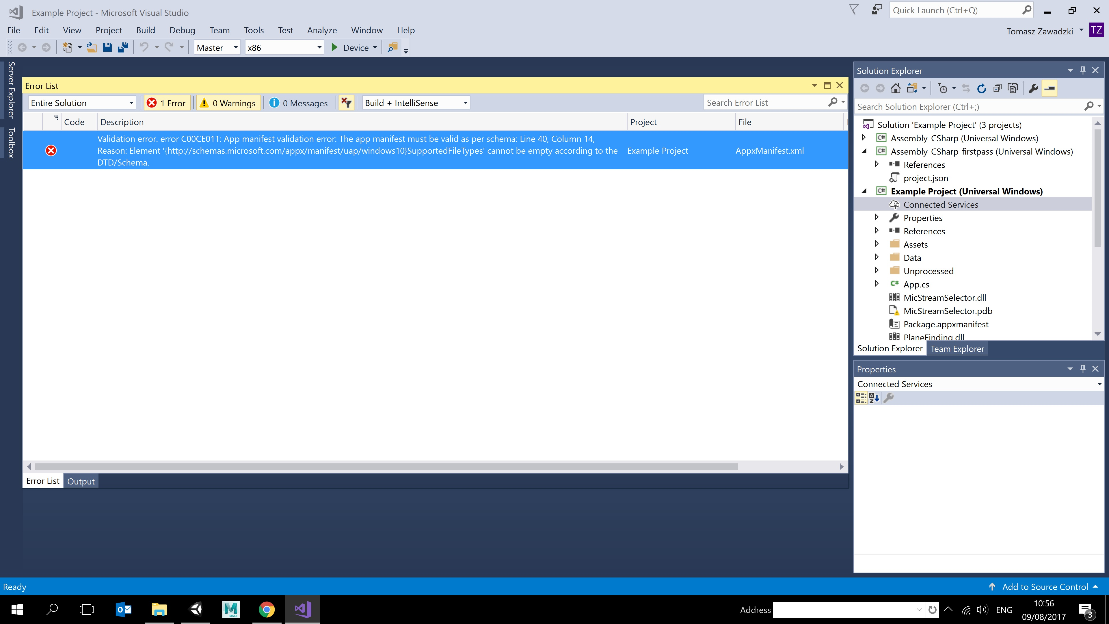 HOLOLENS] Visual studio export - Validation error C00CE011