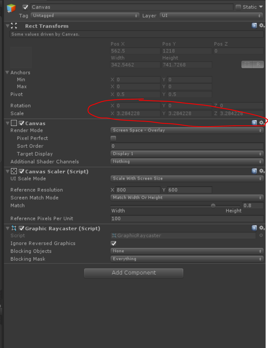 Unity UI - Canvas Scaler - Scale with screen size, same as