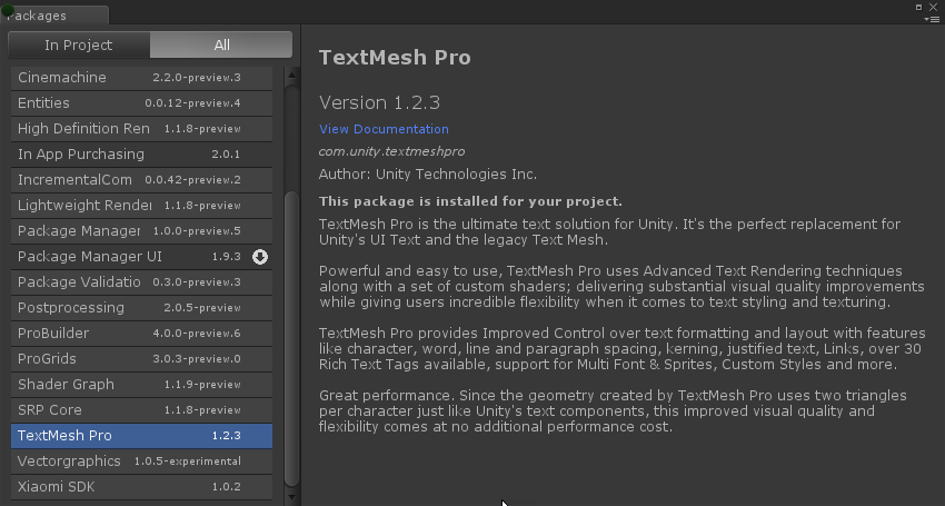 TextMesh Pro - Migrating from Legacy / Asset Store to