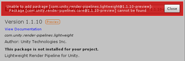 Error when I try to install Render Pipelines  - Unity Forum