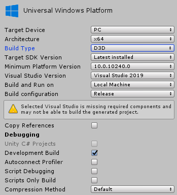 Compiling in VisualStudio after building in Unity with Vuforia
