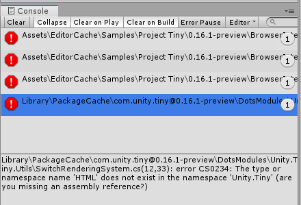Project Tiny preview-0 16 1 (C#) available, and upcoming
